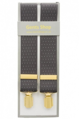 Grey Trouser Braces with Small White Polka Dot Design - Available In 3 Sizes